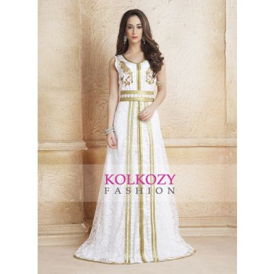 Trendy Beautiful Gulf Trend White Color Partywear Moroccan Style Dubai Dress