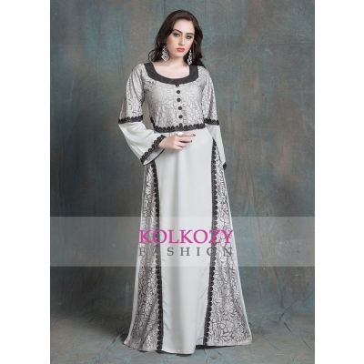 Gray Color Kaftan Arabic Evening Dress With Net Brasso and Black Lace Work