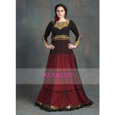Hand Beaded Party Wear Gown Black and Red Color Kaftan Dress