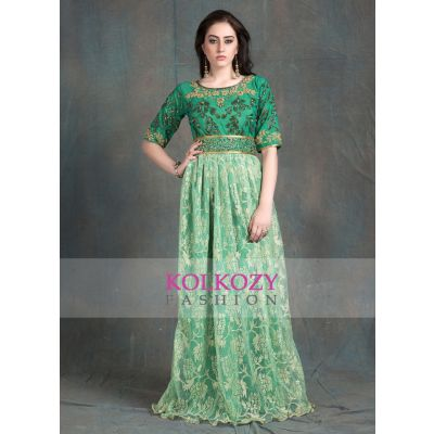 Green Color Handmade Moroccan style Farasha Evening Party Dresses Kaftan