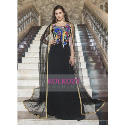 Modern Style Embroidery Work Black Color Formal Maxi Dress