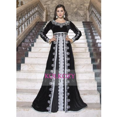 Kaftan Thread Work Black Color Arabic Evening Dress