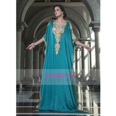 Evening Dress Sea Green Color Arabic Free Size Kaftan