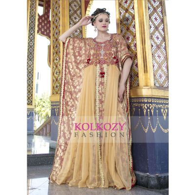 Arabic Style With Stone and Thread Work Handmade Kaftan Beige and Red Color Kaftan