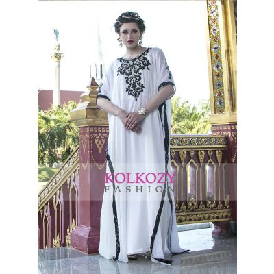 Free Size Kaftan Stone and Sequnce Work Off White color Party wear Kaftan
