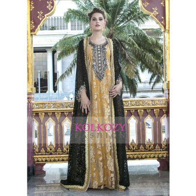 Party Wear Arbic Beige and Black Color Dubai Evening Dress
