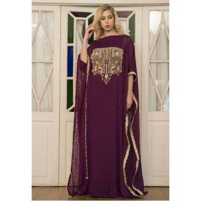 Violet Arabic Style Hand Made Kaftan