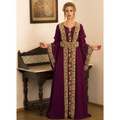 Violet Full Sleeve Moroccan Style Handmade Dress