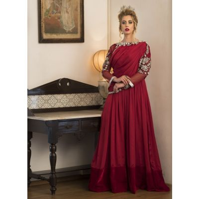 Maroon Long Sleeve Embroidery Evening Dress