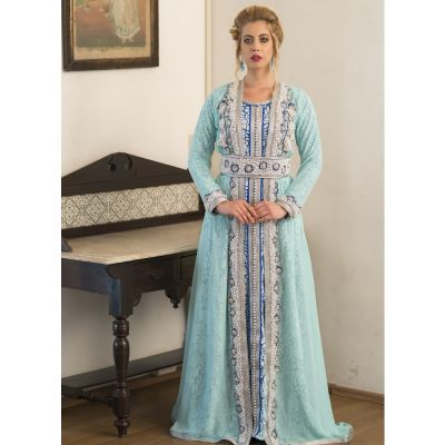 Mint Green and Blue Designer Peral work Dress Moroccan Style Party Wear Kaftan