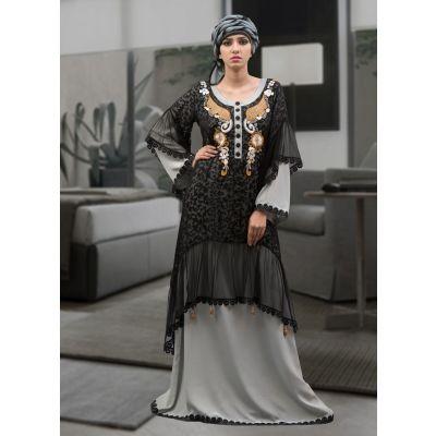 Formal Abaya Maxi Dress Black and Gray Color