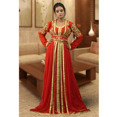 Partywear Red Color Moroccon Kaftan