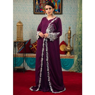 Exquisite Violet Color Traditional Embroidered Kaftan