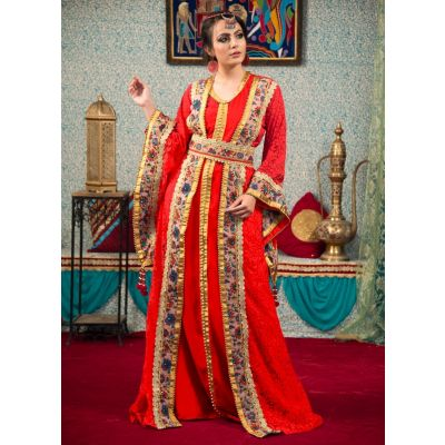 Morrocon Style Embroidery Kaftan Red Color