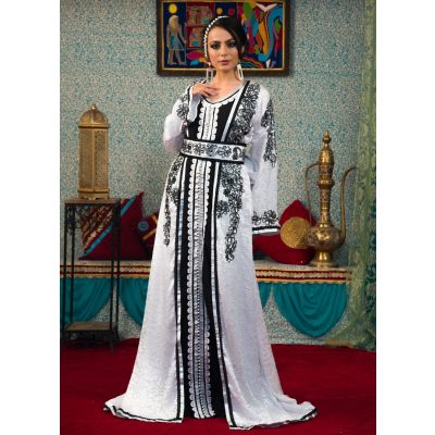 Black beading White Color Morrocon Kaftan