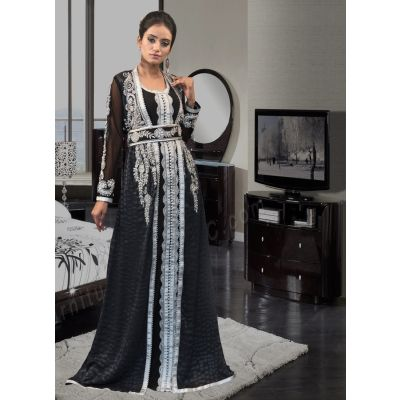Dark Gray and Black Color DUBAI Ladies Long Sleeve Kaftan