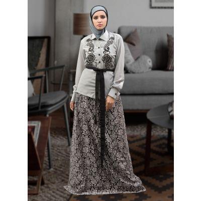 Dark Gray and Black Color Thread Work Abaya Dress