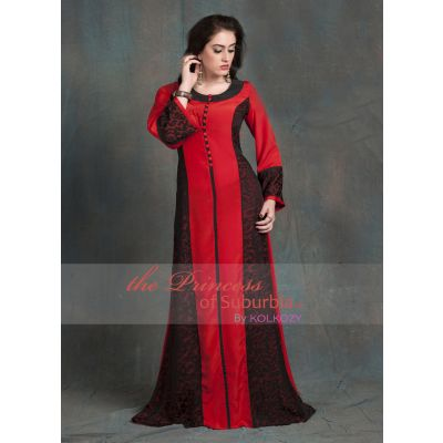 Evening Dress Black and Red Color Arabic dubai party Abaya Dress