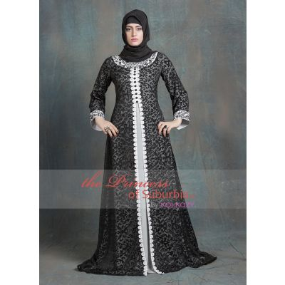 Gray and Gray Color Kaftan Arabic Evening Dress With Net Brasso and White Lace Work