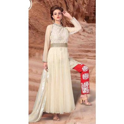 White color Designer-Net Salwar Kameez