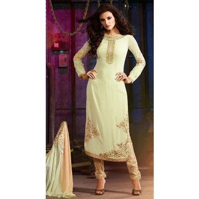 Off White color Designer-Georgette Salwar Kameez