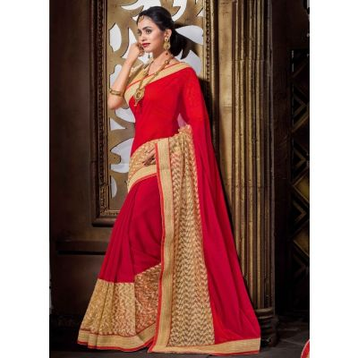 Red color Casual Saree-Georgette Embroidered Saree