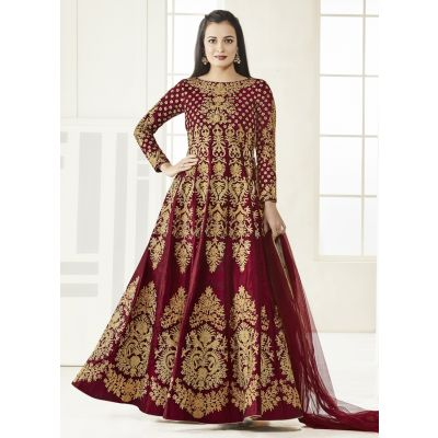 Red color Anarkali Suits-Silk Salwar Kameez-FINAL SALE