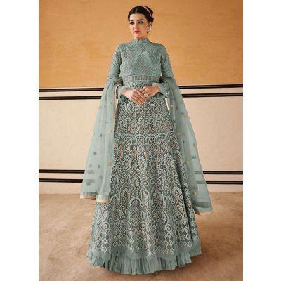 Elegant Sky Blue Net Salwar Kameez