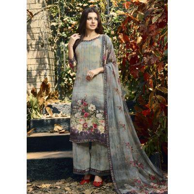 Multicoloured color Straight Suits-Crepe Salwar Kameez