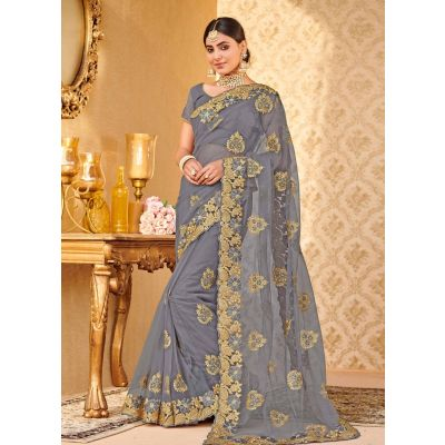 Grey color Designer Saree-Net Embroidered Saree
