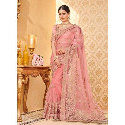 Pink color Designer Saree-Net Embroidered Saree