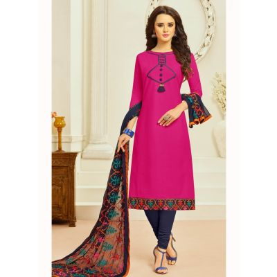 Pink color Casual Salwar Kameez-Cotton Salwar Kameez
