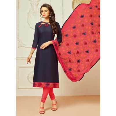 Black color Casual Salwar Kameez-Cotton Salwar Kameez