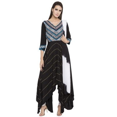 Black color Party Wear Rmd Salwar-Cotton Salwar Kameez