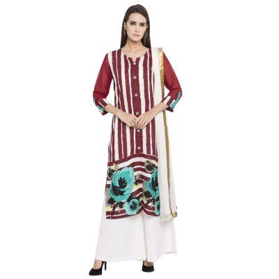 Red color Party Wear Rmd Salwar-Cotton Salwar Kameez