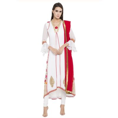 White color Party Wear Rmd Salwar-Georgette Salwar Kameez