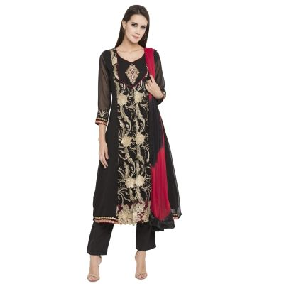 Black color Party Wear Rmd Salwar-Georgette Salwar Kameez