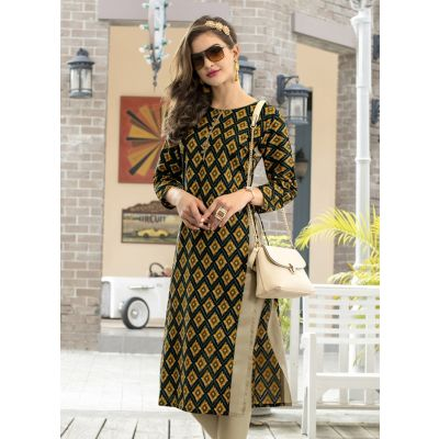 Yellow and Multicoloured color Formal-Cotton Ready Made Kurti
