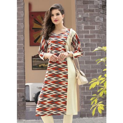 Beige,Brown and Multicoloured color Formal-Cotton Ready Made Kurti