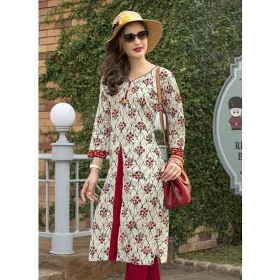 Beige,Maroon and Multicoloured color Formal-Cotton Ready Made Kurti