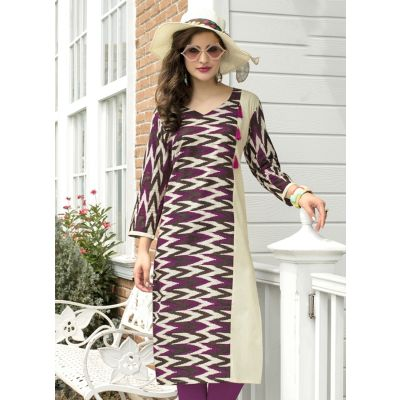 Beige,Purple and Multicoloured color Formal-Cotton Ready Made Kurti