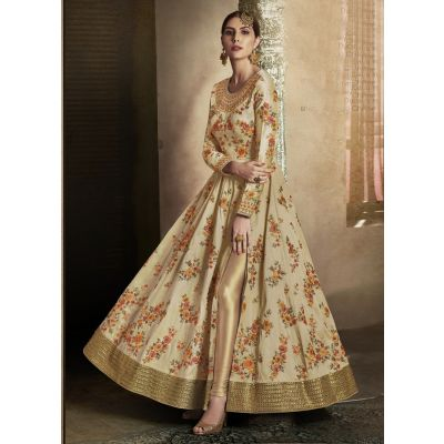 Beige color Designer-Silk Salwar Kameez