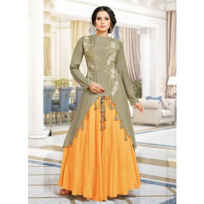 Grey and Orange color Designer Gown-Other Gown