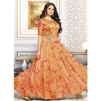 Orange color Designer Gown-Other Gown