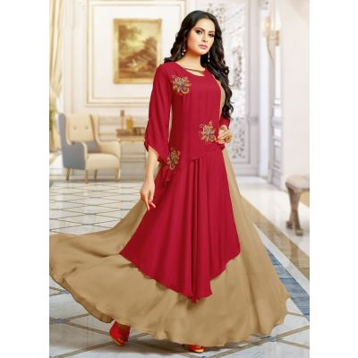 Beige and Maroon color Designer Gown-Other Gown