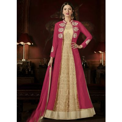 Beige and Orange color Anarkali Suits-Georgette Salwar Kameez