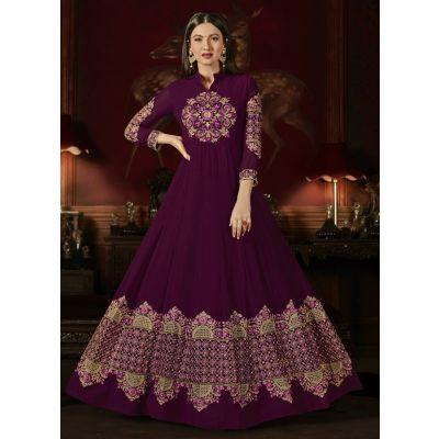 Pink color Anarkali Suits-Georgette Salwar Kameez