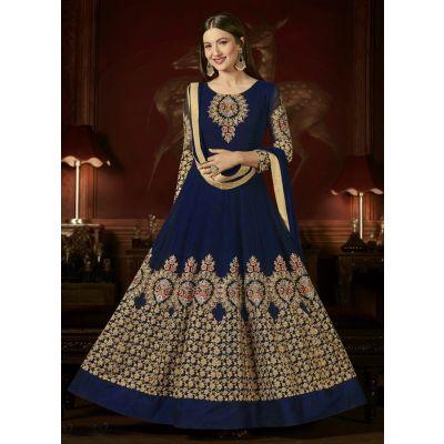 Blue color Anarkali Suits-Georgette Salwar Kameez