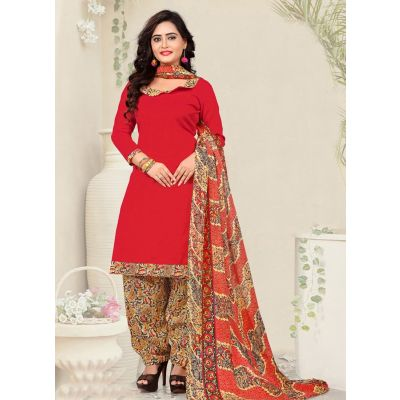Red color Casual Salwar Kameez-Cotton Salwar Kameez