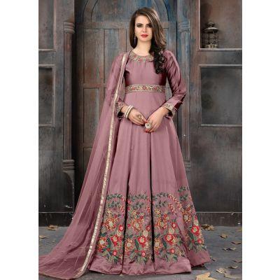 Brown color Anarkali Suits-Silk Salwar Kameez